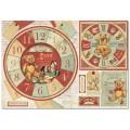"""Stamperia DFS359 Бумага рисовая для декупажа """"Мишки Тедди, часы"""""""