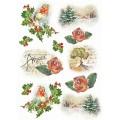 """Stamperia DFSA4147 Бумага рисовая мини-формат """"Красные розы и сосновки"""""""