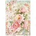 """Stamperia DFSA4223 Бумага рисовая мини-формат  """"Розы и ромашки"""""""