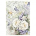 """Stamperia DFSA4229 Бумага рисовая мини-формат """"Белые розы и лиловые бабочки"""""""
