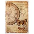"Stamperia DFSA4241 Бумага рисовая мини-формат  ""Часы и бабочки"""