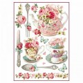 "Stamperia DFSA4295 Бумага рисовая мини-формат  ""Чайник и чашки с цветами """