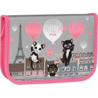 """TIGER FAMILY  Пенал TIGER FAMILY 1 отделение, 1 откидная планка, ткань, """"Think Pink In Paris"""", 20х14х4 см, 270246"""