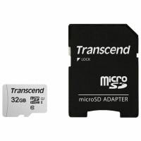 TRANSCEND TS32GUSD300S-A Карта памяти microSDHC 32 GB TRANSCEND UHS-I U3, 95 Мб/сек (class 10), адаптер, TS32GUSD300S-A