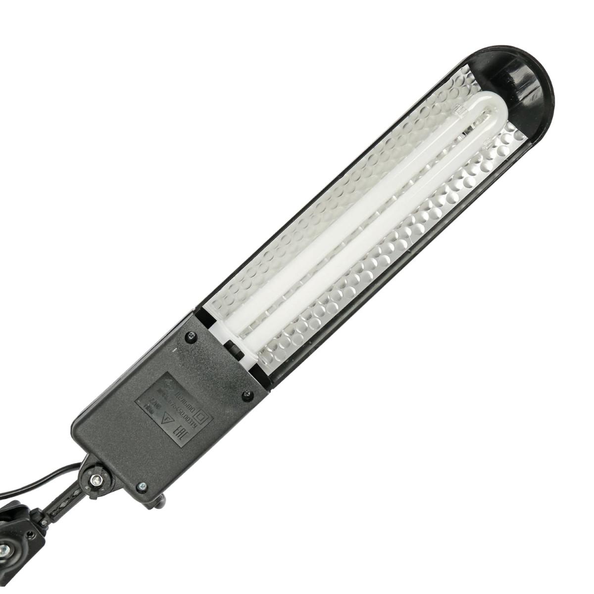 """Светильник настольный """"Дельта"""", на струбцине, люминесцентный, 11 Вт, черный, высота 70 см, 2G7"""