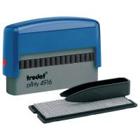 TRODAT 32912 Штамп самонаборный 2-строчный, размер оттиска 70х10 мм, синий без рамки, TRODAT 4916DB, КАССЫ В КОМПЛЕКТЕ, 32912