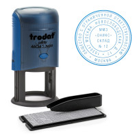 TRODAT 47091 Печать самонаборная 2 круга, оттиск D=45 синий, TRODAT 46045 R2, крышка, КАССА В КОМПЛЕКТЕ, европодвес, 47091