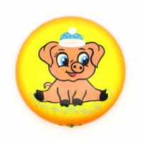 Туендатская мастерская Д-7М Декоративное изделие из пенопласта Медальон на магните Новогодний. Свинка