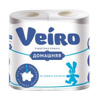 """VEIRO 1с24 Бумага туалетная бытовая, спайка 4 шт., 2-х слойная (4х15 м), VEIRO """"Домашняя"""", белая, 1с24"""