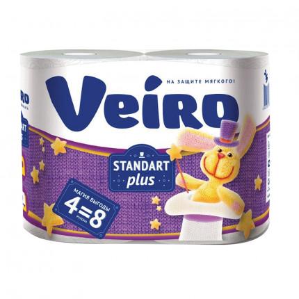 Бумага туалетная бытовая, спайка 4 шт., 2-х слойная (4х30 м), VEIRO Standart Plus, белая, 3с24 (арт. 3с24)