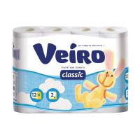 VEIRO 5с212 Бумага туалетная бытовая, спайка 12 шт., 2-х слойная (12х17,5 м), VEIRO Classic, белая, 5с212