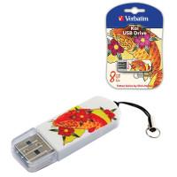 VERBATIM 49882 Флеш-диск 8 GB, VERBATIM Mini Tattoo Edition KOI FISH, USB 2.0, белый с рисунком, 49882