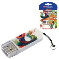 VERBATIM 49883 Флеш-диск 8 GB, VERBATIM Mini Tattoo Edition Phoenix, USB 2.0, белый с рисунком, 49883