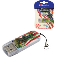 VERBATIM 49888 Флеш-диск 16 GB, VERBATIM Mini Tattoo Edition Dragon, USB 2.0, белый с рисунком, 49888