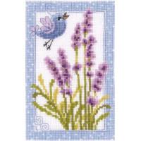 Vervaco 60 Наборы для вышивания VERVACO, 8х12 см  Синяя птичка и цветы