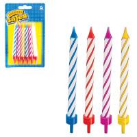 ВЕСЕЛАЯ ЗАТЕЯ 1502-0182 Праздничные свечи для торта, комплект 12 шт., с подставкой, 8,5 см, в блистере, 1502-0182