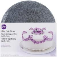 Wilton WLT-2104-1187 Серебористая круглая подставка для торта: d-25,4см, 2шт.
