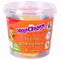 ЮНЛАНДИЯ 105505 Пластилин на растительной основе (тесто для лепки) ЮНЛАНДИЯ, 4 цвета, 240 г, пластиковый стакан, 105505