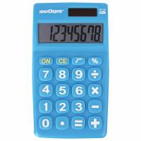 ЮНЛАНДИЯ  Калькулятор карманный ЮНЛАНДИЯ (135х77 мм) 8 разрядов, двойное питание, СИНИЙ, блистер, 250456