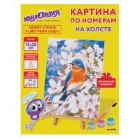 """ЮНЛАНДИЯ 662506 Картина по номерам 15х20 см, ЮНЛАНДИЯ """"Птица в цветущем саду"""", на холсте, акрил, кисти, 662506"""