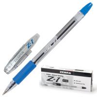 "ZEBRA BP074-BL Ручка шариковая с грипом ZEBRA ""Z-1"", СИНЯЯ, корпус прозрачный, узел 0,7 мм, линия письма 0,5 мм, BP074-BL"