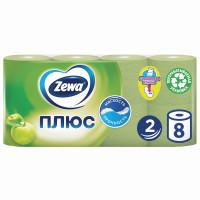 ZEWA 144006 Бумага туалетная бытовая, спайка 8 шт., 2-х слойная (8х23 м), ZEWA Plus, аромат яблока, 144006