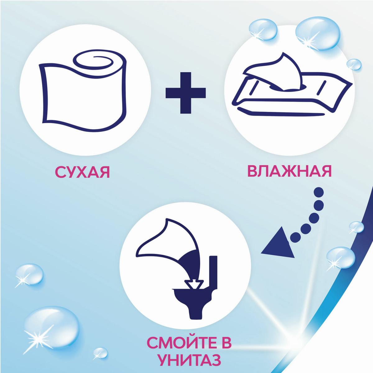 Бумага туалетная бытовая, спайка 8 шт., 2-х слойная (8х23 м), ZEWA Plus, аромат яблока, 144006 (арт. 144006)