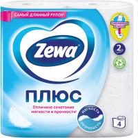 ZEWA 144051 Бумага туалетная бытовая, спайка 4 шт., 2-х слойная (4х23 м), ZEWA Plus, белая, 144051