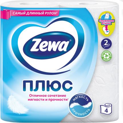 Бумага туалетная бытовая, спайка 4 шт., 2-х слойная (4х23 м), ZEWA Plus, белая, 144051 (арт. 144051)