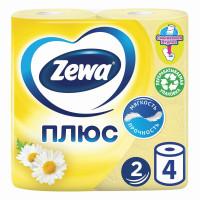 ZEWA 144065 Бумага туалетная бытовая, спайка 4 шт., 2-х слойная (4х23 м), ZEWA Plus, аромат ромашки, 144065