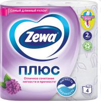 ZEWA 144108 Бумага туалетная бытовая, спайка 4 шт., 2-х слойная (4х23 м), ZEWA Plus, аромат сирени, 144108