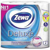 ZEWA 3228 Бумага туалетная бытовая, спайка 4 шт., 3-х слойная (4х19 м), ZEWA Deluxe, белая, 3228