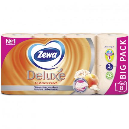 Бумага туалетная бытовая, спайка 8 шт., 3-х слойная (8х19 м), ZEWA Deluxe, аромат персика, 5363 (арт. 5363)