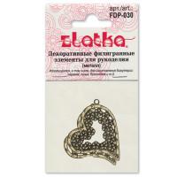 Zlatka FDP-030 Филигранные элементы FDP-030 2.5 см сердце 4 шт  под золото