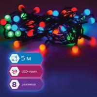 """ЗОЛОТАЯ СКАЗКА 591103 Электрогирлянда светодиодная ЗОЛОТАЯ СКАЗКА """"Шарики"""", 50 ламп, 5 м, многоцветная, контроллер, 591103"""