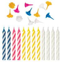 ЗОЛОТАЯ СКАЗКА 591447 Набор свечей для торта 12 шт., 8 см, с держателями, ЗОЛОТАЯ СКАЗКА, в блистере, 591447