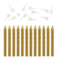 ЗОЛОТАЯ СКАЗКА 591449 Набор свечей для торта 12 шт., 6 см, с держателем, золотой металлик, ЗОЛОТАЯ СКАЗКА, в блистере, 591449