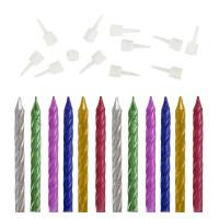 ЗОЛОТАЯ СКАЗКА 591450 Набор свечей для торта 12 шт., 6 см, с держателем, металлик, ассорти, ЗОЛОТАЯ СКАЗКА, в блистере, 591450