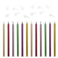 ЗОЛОТАЯ СКАЗКА 591451 Набор свечей для торта 12 шт., 10 см, с держ., металлик ассорти, ЗОЛОТАЯ СКАЗКА, в блистере, 591451