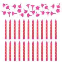 ЗОЛОТАЯ СКАЗКА 591458 Набор свечей для торта 24 шт., 6 см, 24 держателя, розовые в горошек, ЗОЛОТАЯ СКАЗКА, в блистере, 591458