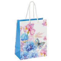 """ЗОЛОТАЯ СКАЗКА 606578 Пакет подарочный 17,8x9,8x22,9 см, ЗОЛОТАЯ СКАЗКА """"Бабочка на цветке"""", ламинированный, 606578"""