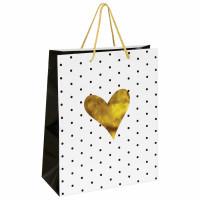 """ЗОЛОТАЯ СКАЗКА 606583 Пакет подарочный 26x12,7x32,4 см, ЗОЛОТАЯ СКАЗКА """"Золотое сердце"""", ламинированный, 606583"""