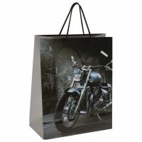 """ЗОЛОТАЯ СКАЗКА 606589 Пакет подарочный 26x12,7x32,4 см, ЗОЛОТАЯ СКАЗКА """"Мотоцикл"""", ламинированный, 606589"""