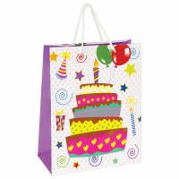 """ЗОЛОТАЯ СКАЗКА 606592 Пакет подарочный 26x12,7x32,4 см, ЗОЛОТАЯ СКАЗКА """"Именинный торт"""", ламинированный, 606592"""