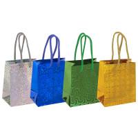 ЗОЛОТАЯ СКАЗКА 606605 Пакет подарочный 11,4x6,4x14,6 см, ЗОЛОТАЯ СКАЗКА голография, ассорти 4 цвета, 606605