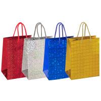ЗОЛОТАЯ СКАЗКА 606606 Пакет подарочный 17,8x9,8x22,9 см, ЗОЛОТАЯ СКАЗКА голография, ассорти 4 цвета, 606606