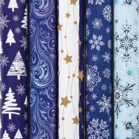 """ЗОЛОТАЯ СКАЗКА  Бумага упаковочная новогодняя 70х100 см ЗОЛОТАЯ СКАЗКА """"Blue Collection"""", 5 дизайнов, 70 г/м2, 591583"""