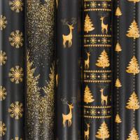 """ЗОЛОТАЯ СКАЗКА  Бумага упаковочная новогодняя 70х100 см ЗОЛОТАЯ СКАЗКА """"Black&Gold"""", 5 дизайнов, 70 г/м2, 591584"""