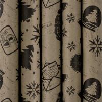"""ЗОЛОТАЯ СКАЗКА  Бумага упаковочная новогодняя 70х100 см ЗОЛОТАЯ СКАЗКА """"Kraft Collection"""", 5 дизайнов, 80 г/м2, 591585"""