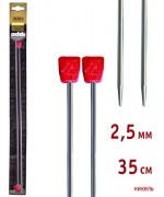 Addi 100-7/2.5-35 Спицы Addi прямые никелированные 35см 2.5мм, 2 шт